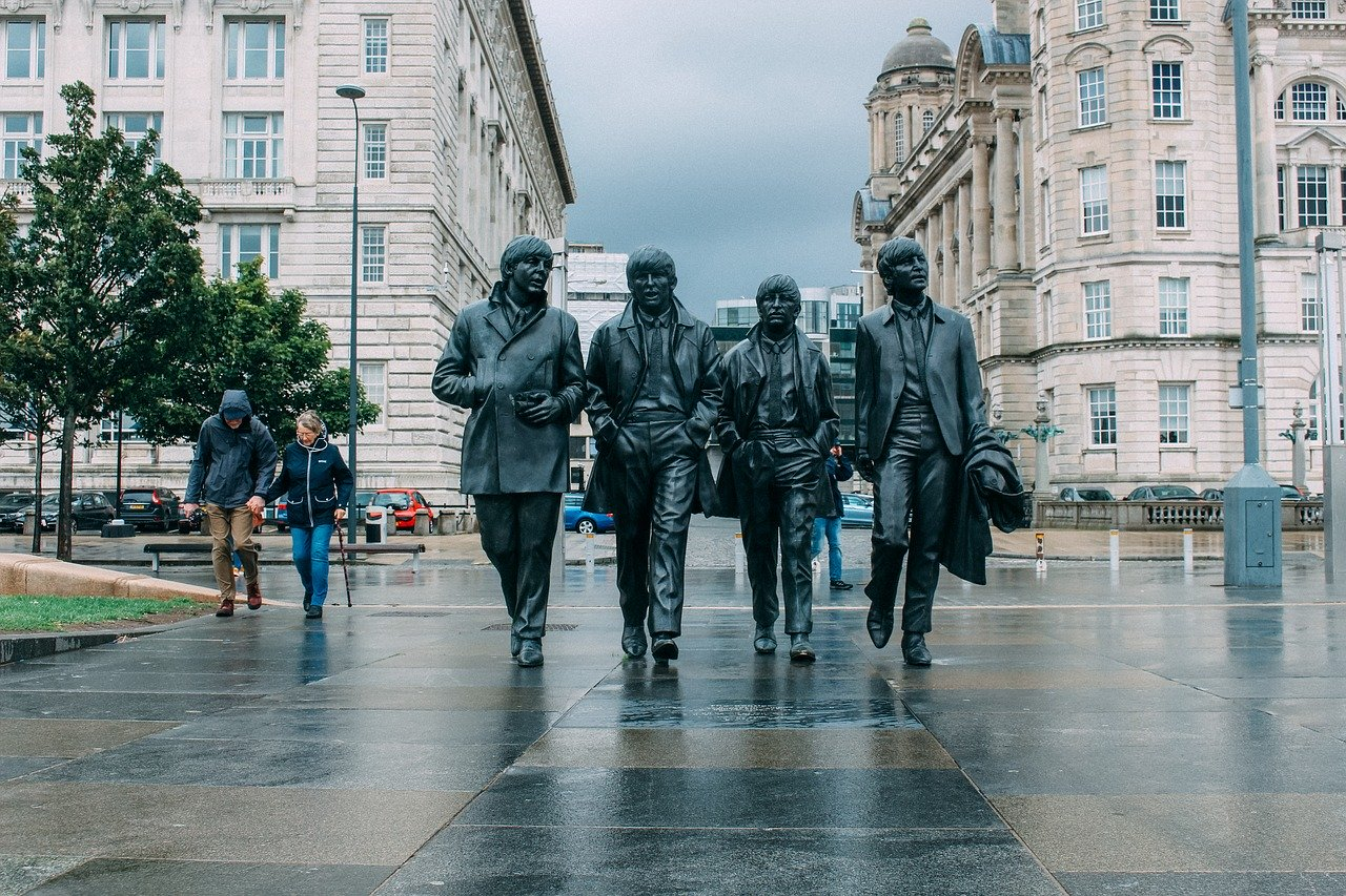 Streets of Liverpool with a statue of the Beatles