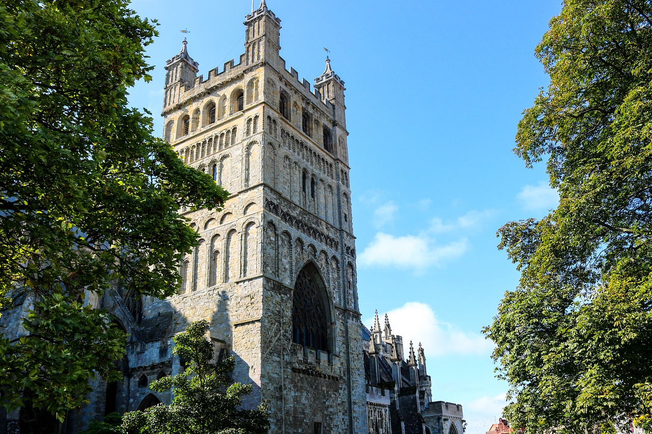 Exeter Cathedral on a blue, sunny day